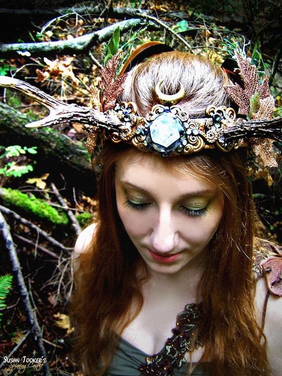 Antler Crown Headdress Autumn Faerie Princess Fairy Costume Offbeat Wedding Pagan Bridal Roe Deer Antlers HARVEST MOON by Spinning Castle