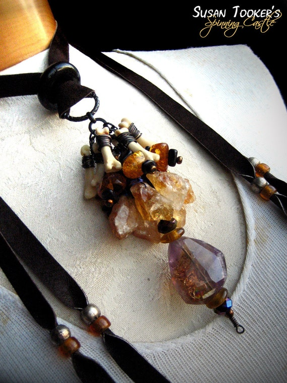 Ametrine Tribal Amulet Necklace Coyote Bone Citrine Baltic Amber Pagan Ritual Pendant COYOTE WISDOM by Spinning Castle