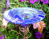 BUTTERFLY FEEDER, glass and copper, BLUE, WHITE, and CLEAR