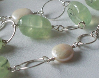 Spring Love - Quartz, Pearl, and Sterling Silver Handmade Necklace