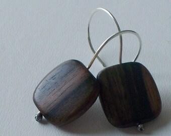 Tiger Ebony  - Chocolate Brown - Earrings - on Handmade Sterling Silver Ear wires