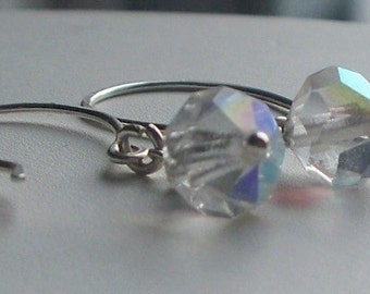vintage crystal earrings with handmade sterling silver ear wires
