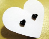 little black dotty heart earrings (VALENTINES SPECIAL - FREE POSTAGE)