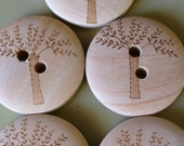 5 Wooden Tree Buttons