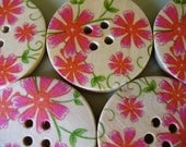 Set of Red Gerbera Buttons