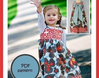 Kissing Kumquats Reverse Knot Dress PDF Sewing Pattern Size 5-10