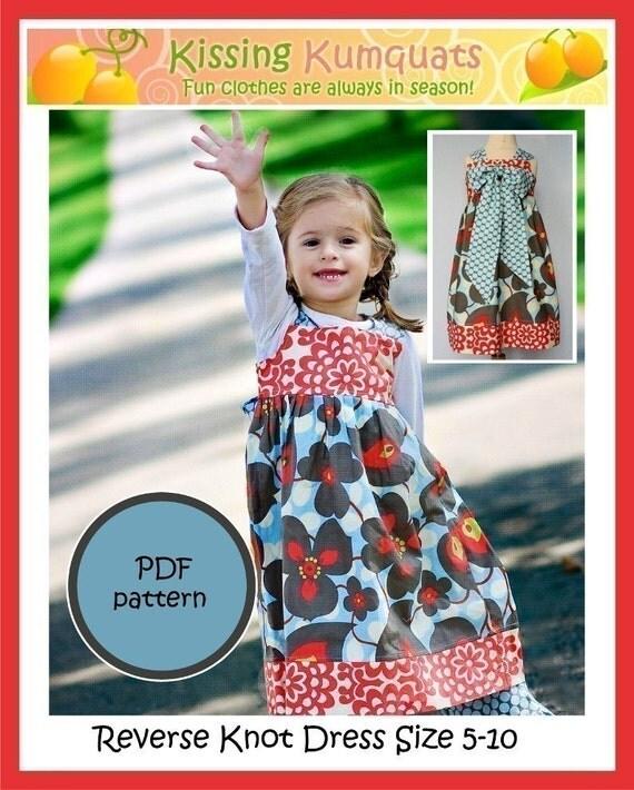 Kissing Kumquats Reverse Knot Dress PDF Sewing Pattern Size 5-10