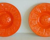 LARGE Vintage 60's pair of orange ceramic zodiac ashtray plate trays set Zodiac Circle surrounding the Sun