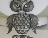 Vintage 70's rare large jointed pewter silver tone owl on branch pendant necklace