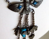 Vintage 80's Long dangely natve american indian pewter Thunderbird with hanging charms fringe necklace