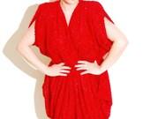 Vintage 80's Red sparkle shaggy tulip skirted bottom grecian draped rare avant garde dress M S XS 3/4