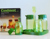 Vintage NIB 1960's MCM green lucite plastic deluxe housewares Condiment set oil and vinegar dressing New In Box