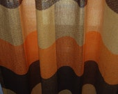 Vintage 1950's pair of orange, goldenrod and brown ombre plaid striped curtain panels drapery with hooks
