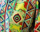 Vintage 60's Graphic psychedelic bohemian tribal polyester housecoat lounge dress mu mu L