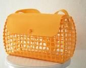 Vintage 1970's MOD Yellow orange plastic cage purse travel diaper pet tote bag RARE