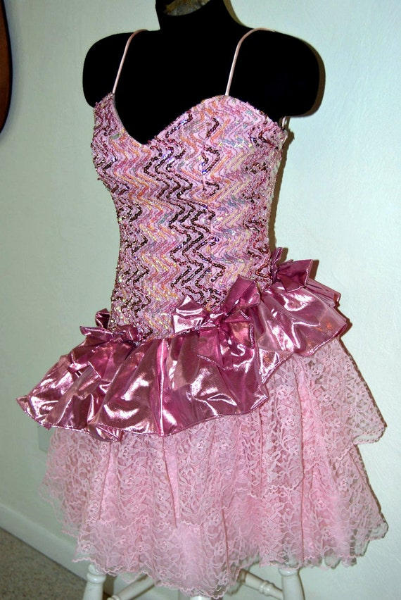 Vintage 80's ultimate pink lace sequined and shimmery metallic princess ballerina formal prom pageant dance dress XS S