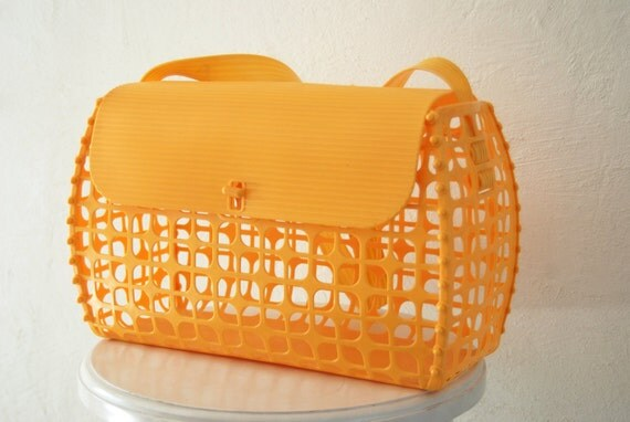 Vintage 1970's MOD Yellow orange plastic cage purse travel diaper pet tote bag RARE