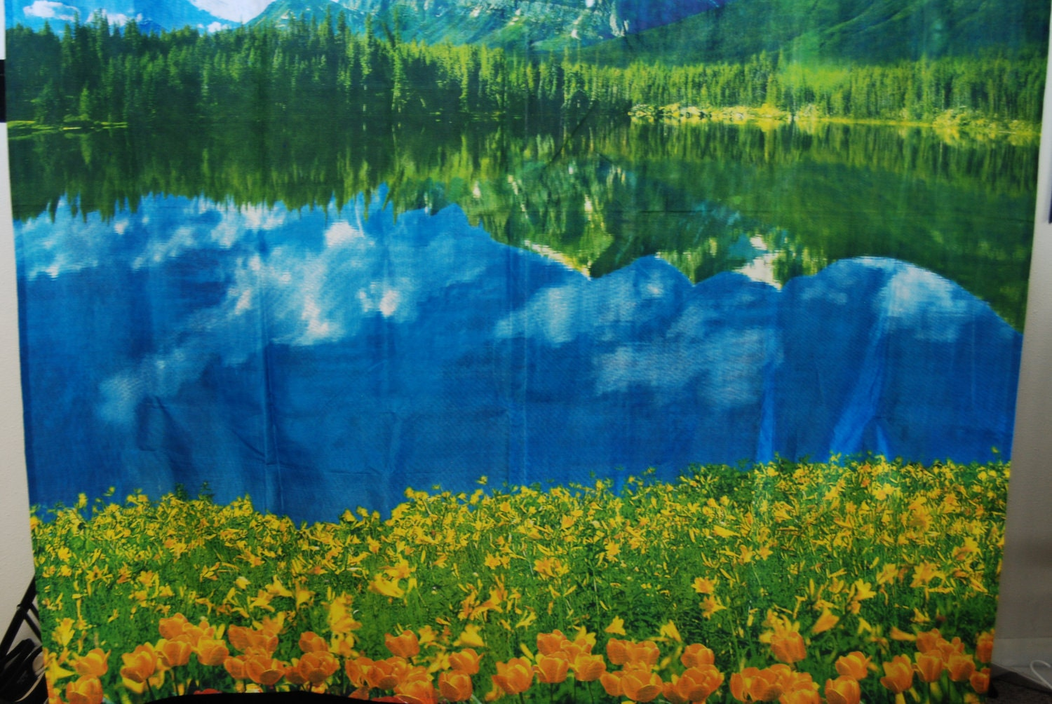 Vintage 1970's all over print mountain lake and by modularparallel title=