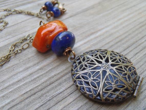 N182 Auburn Orange & Navy Game Day Necklace
