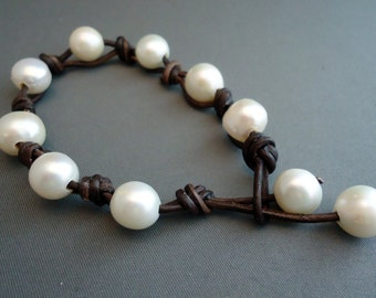 Reserve for Slesser/ Cool pearls on leather bracelet and necklace