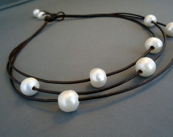 Leather and Pearls Cosmos  Necklace