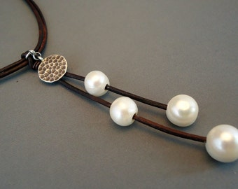 Leather and pearls with antique silver charm  necklace