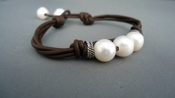 Pearls on a Pod Leather and Sterling Silver Bracelet