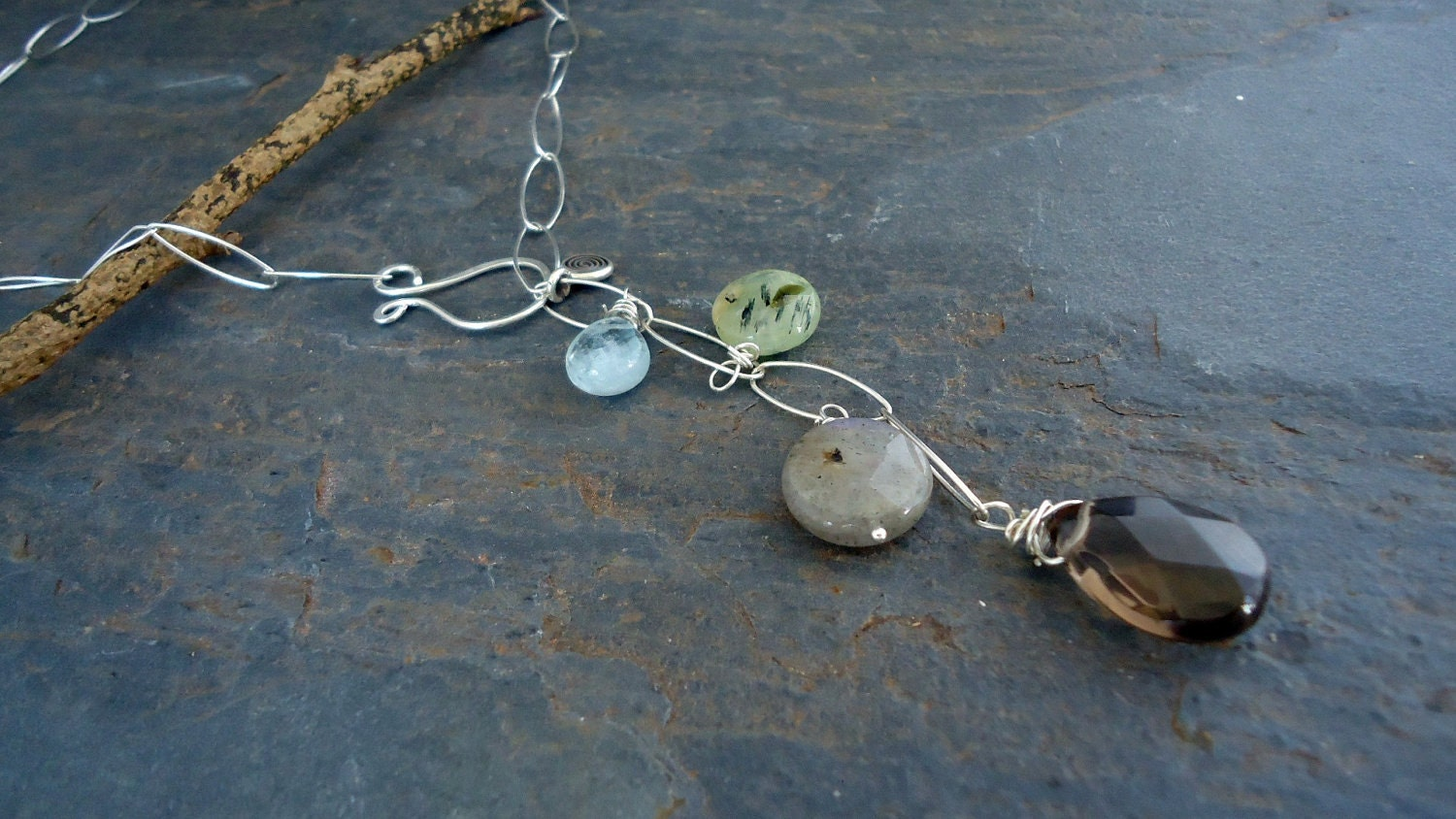 Falling,in,love,Jewelry,Necklace,metal_work,iseadesigns,modern_chic,sterling_silver,semiprecious,lariat,faceted_crystal,wire_wrapped,quartz,asymmetrical,Labradorite_necklace,sterling silver,aquamarine,green quartz,smoky quartz,labradorite
