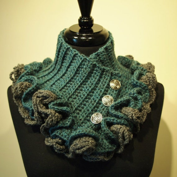 Steampunk Victorian Crochet Ruffled Collar Scarf by ParasolDesign