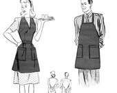 1940s His and Hers Hostess or BBQ Aprons - Pattern Reproduction - One Size