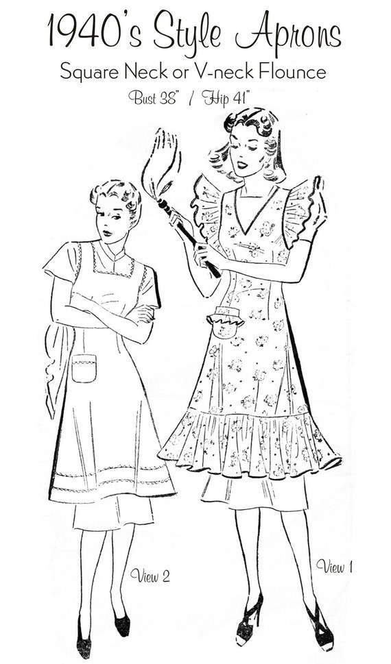 1940s Style Aprons (Square Neck or V-Neck Flounce Apron) - Pattern Reproduction - Bust Size 38