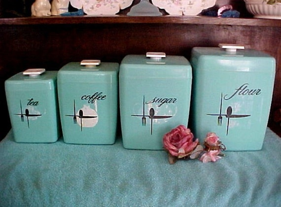 Price Reduced Turquoise Retro Vintage Kitchen Canister Set Of
