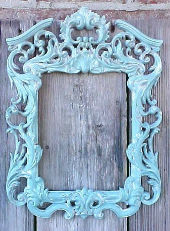 Shabby Chic Ornate Turquoise Robin Egg Blue Scrolly Wall Frame Home Decor