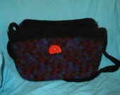 Year End Bag Sale Felted Bag in Black and Gem Multi with Wood Button