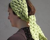 On Clearance Handmade Crochet Boho Style Headscarf in Celery Green