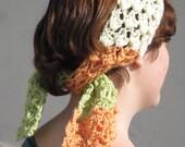 On Clearance Handmade Crochet Boho Style Headscarf in Irish Sorbet