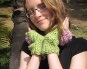 On Clearance Handmade Crochet Gloves in Dahlia Flower Pink and Green