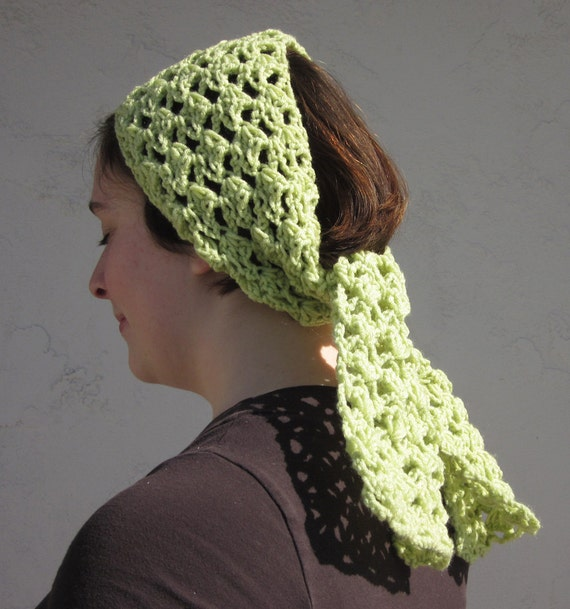 On Clearance Handmade Crochet Boho Style Headscarf in Celery Green