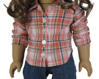 Contemporary Bella Twilight jeans and button down shirt PDF sewing pattern for 18 inch American Girl Doll