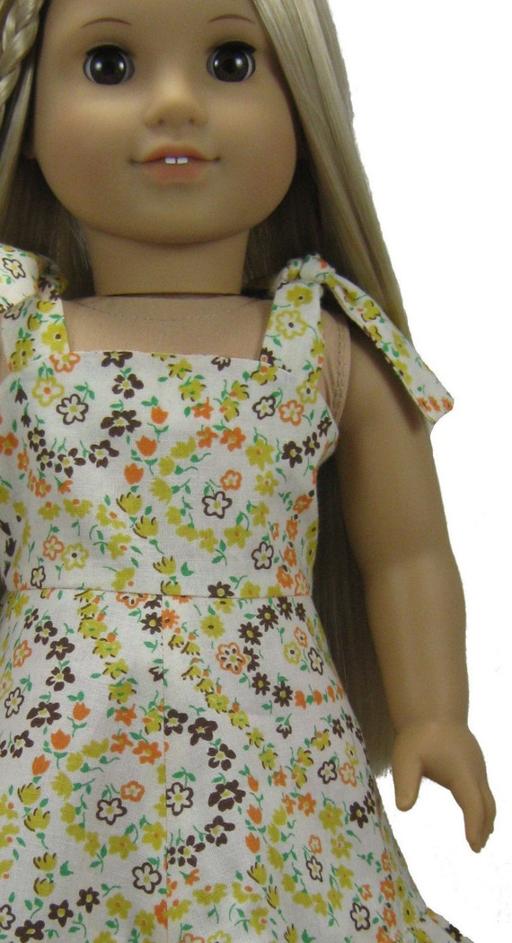 1970s Sundress PDF sewing pattern for 18 inch American Girl Doll Julie Endless Summer knot ties