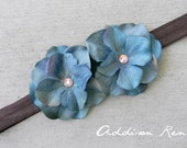 baby headband flower headband double blue turquoise small flower headband on a brown super soft stretch ribbon/elastic infant, baby, toddler