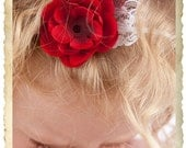 Deep Red Petitie Flower with lace and polka dot feather accent on Thin white Headband ... Multiple Sizes Available Newborn Baby Infant Todd
