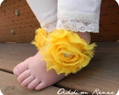 Baby sandals - little light yellow and yellow baby barefoot sandals