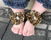 Baby sandals - little leopard print baby barefoot sandals