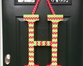 H is for Happy Holidays  Monogram Wreath Initial