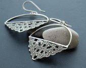 My Gipsy Fans - antiqued vintage filigree and sterling silver dangle earrings