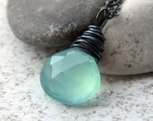 FREE SHIPPING - Aqua Chalcedony Necklace - heavily oxidized sterling silver chain necklace with a aqua blue - green chalcedony charm Etsy