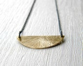 FREE SHIPPING - Brass and Black Silver Chain Half  Moon Necklace - Urban and Scratched - black sterling silver, brass abstract Neclace,