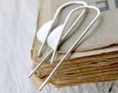 Little Half Moons, Sterling Silver  Geometric Earrings - handmade solid sterling silver dangle geometric earrings, Etsy