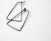 FREE SHIPPING - Tiangular Hoop Earrings - Oxidized and Scratched - sterling silver black geometric hoop earrings, Etsy